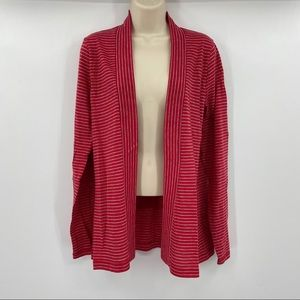 J Crew striped open front cardigan size large